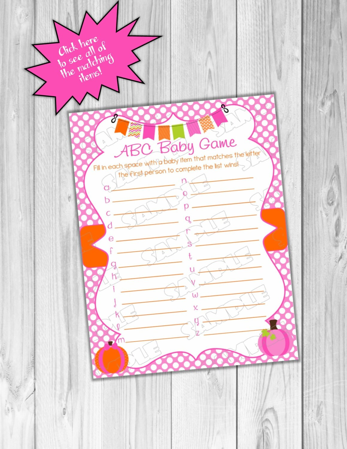 Pink Pumpkin Baby Shower Games Abc Baby Game Printable