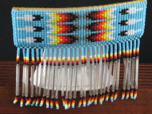 Turquoise Barrette Feather Beadwork Native American