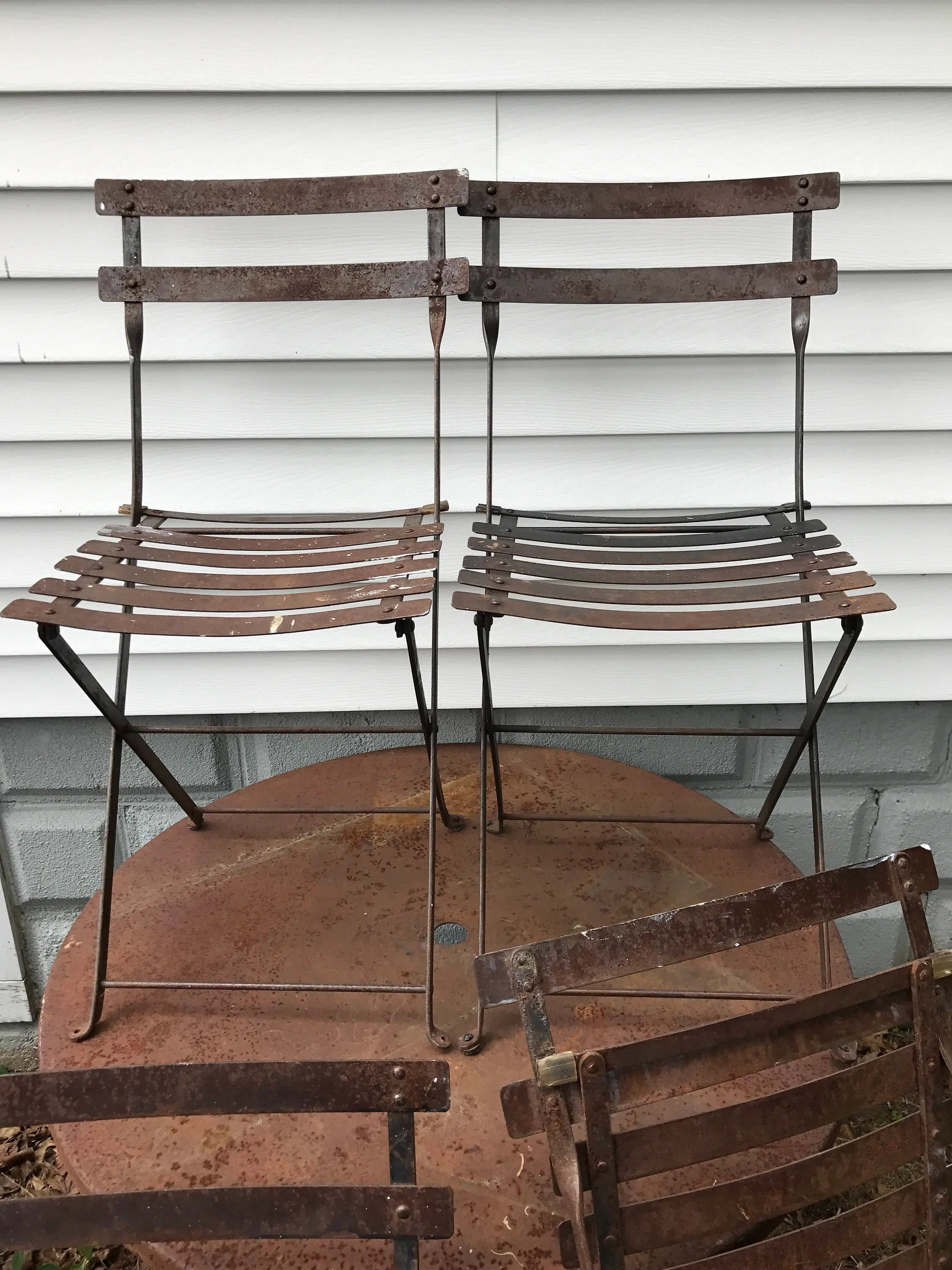 metal bistro chairs leather wingback recliner chair etsy french vintage folding mid century 1950s industrial chic rustic primitive