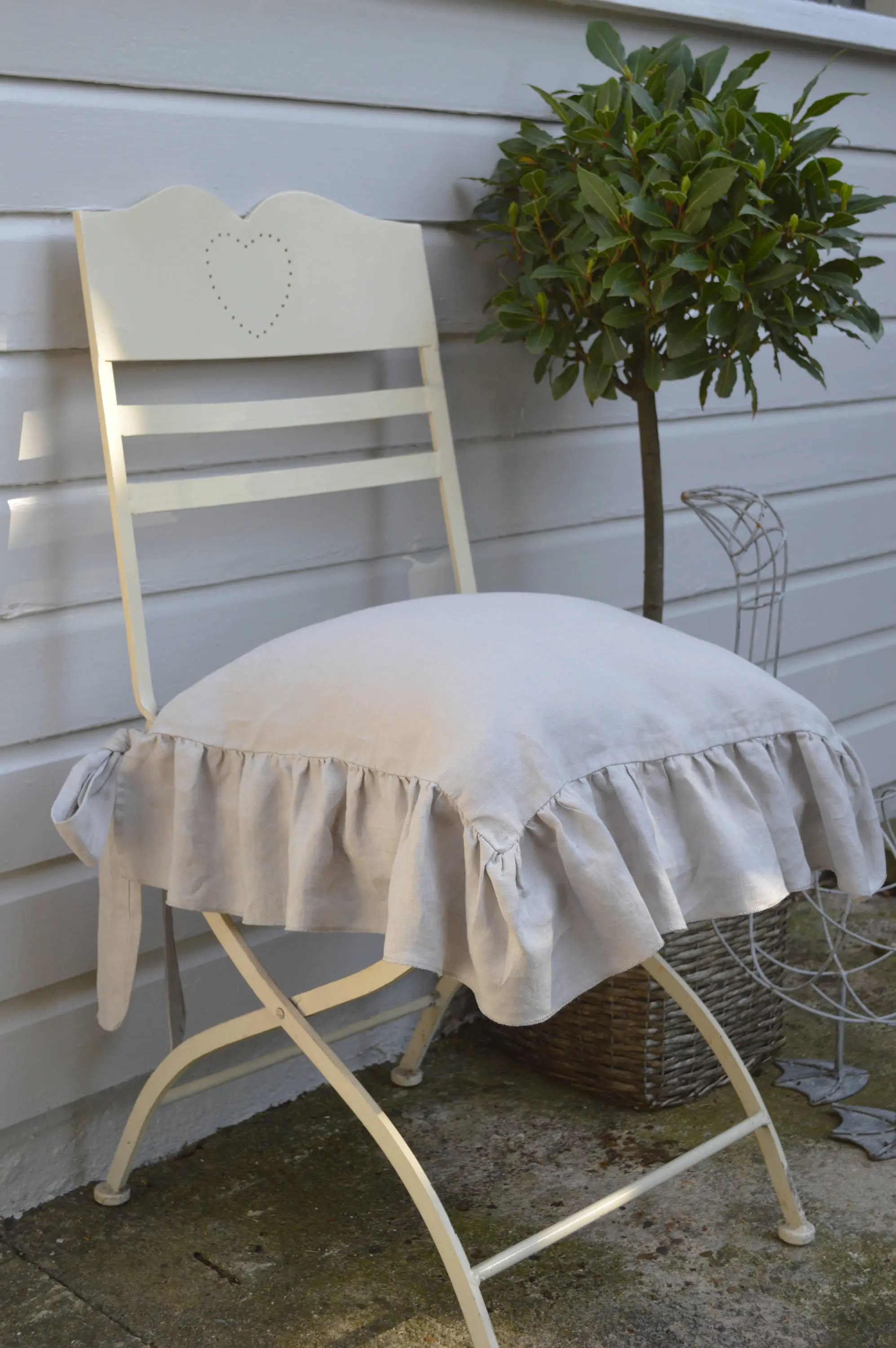 chair covers the range baby rocking chairs south africa linen cover slipcover ruffle front sides only etsy image 0