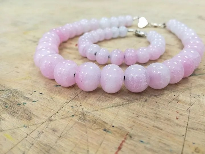 Pink alabaster necklace...
