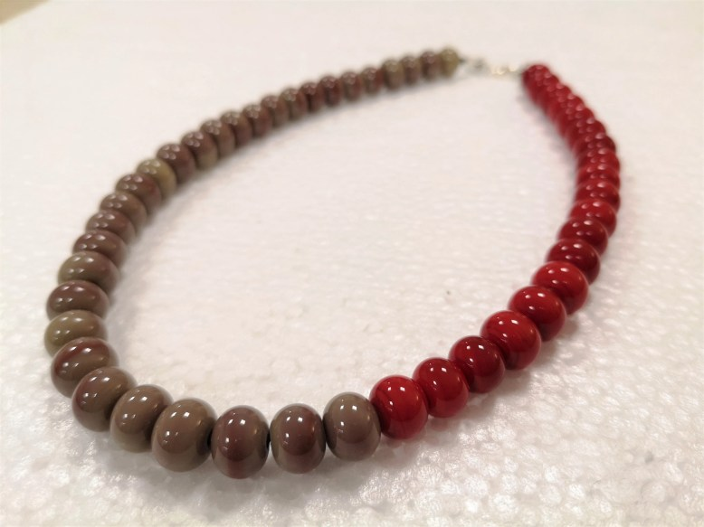 red and dove gray choker ...