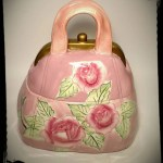 Collectible Purse Cookie Jar With Red Roses Candy Dish