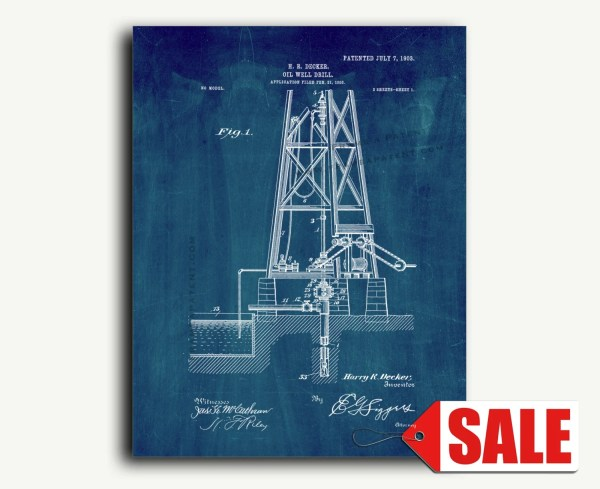 Patent Print Oil Drill Wall Art Poster