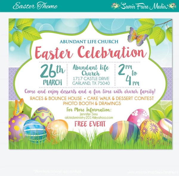 Easter Egg Hunt Flyer Invitation Poster Template Church