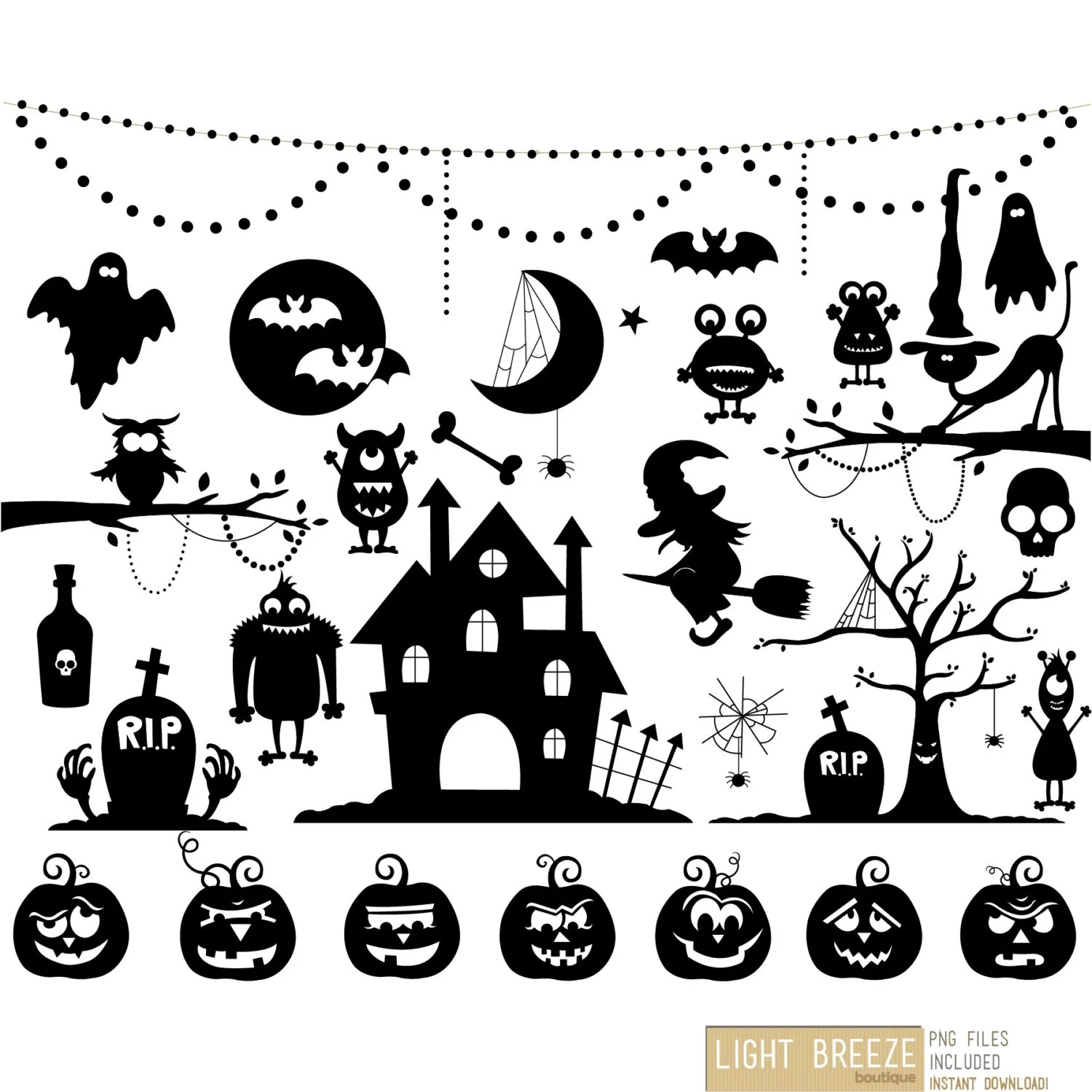 Halloween Silhouette Cliparts Set Sofort Download Private