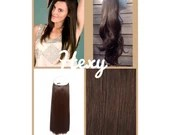 """18"""" long HALO HEXY FLIP in Medium dark choc brown #4 human remy secret magic invisible miracle wire hair extensions headband crown quick fix"""