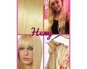 """HALO hair extensions, flip in 12"""" long HEXY Bleach blonde #613 human remy secret miracle wire hair extensions bespoke hidden crown circle"""