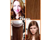 """22"""" long HALO flip in HEXY Light auburn #30 human remy secret invisible miracle wire loop one piece hair extensions bespoke damage free aura"""