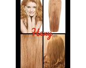 """16"""" long HALO flip in HEXY light Strawberry blonde #27 secret invisible miracle wire one piece human remy hair extensions headband circle"""