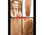 """18"""" long HALO flip in HEXY light Strawberry blonde #27 secret invisible miracle wire one piece human remy hair extensions headband circle"""