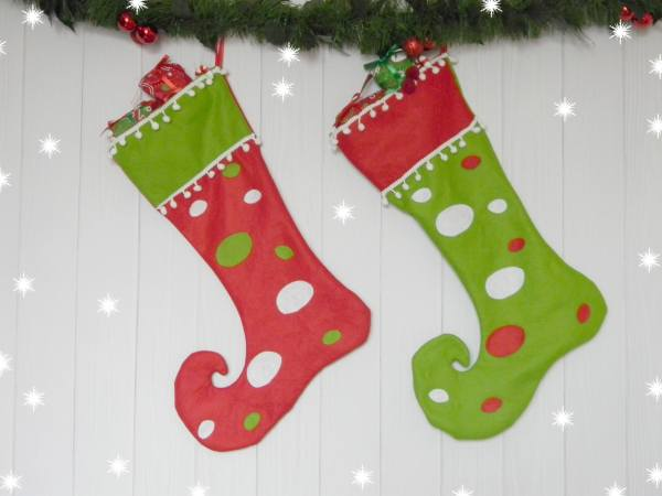 Personalized Elf Stockings Red Green Christmas