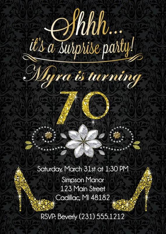 70th birthday invitation gold glitter birthday party invite surprise birthday invitation for adult 1108