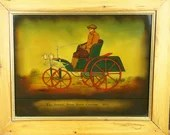 Reverse Painting Framed Glass Frenzel Petro Motor Carraige 1892