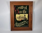 Vintage Central Pacific Railway Company Glass Mirror Advertising Sign