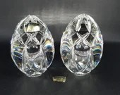 Pair of Polonia Polish Lead Crystal Egg Form Paperweights