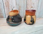 Pair of Southwestern Steve Schrepferman Squash Pottery Bowls Vases Pots