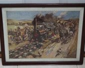 Terence Cuneo 1949 First Railway Pasenger Train Vintage Print Calendar Top