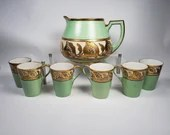 ZS Zeh Scherzer Co Bavaria 7PC Nouveau Gold Motif Lemonade Cider Pitcher Set