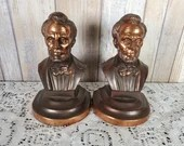 Rare Signed Pair McClelland Barclay Copper Bronze Abraham Lincoln Bookends