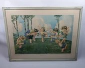 Original 1910 Framed Charles Twelvetrees Dancing Children Print Merry Makers
