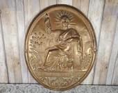 Antique French Republique Francaise Statue of Liberty Bronze Repousse Notary Plaque