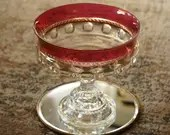 Mid Century Tiffin Kings Crown Thumbprint Ruby Cranberry Large Compote Centerpiece Pedestal Bowl