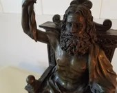 Vintage Bronze Zeus Seated in Throne Marble Base 12 Inches HEAVY