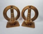 Vintage Heavy Gold Tone Industrial Gears Steampunk Art Bookends