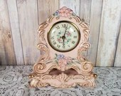 Vintage Pink Floral Hand Painted Porcelain Sessions Electric Shelf Mantel Clock