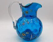 Antique Blown Blue Glass Pitcher Inverted Coin Enamel Flowers Decorated