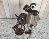 Recycled Metal Art Candleholder Dog With Marble Eyes Found Object