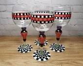 4 Four Beautiful Hand Painted Checkered Wine Glasses MacKenzie Style