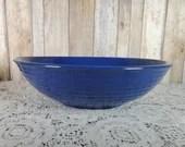 """Vintage Bauer Ring Ware Pottery 12"""" Salad Bowl Cobalt Blue Los Angeles"""