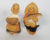 Early Pair Henning Norway Carved Wood Children Fisherman Fish