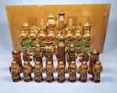 Russian Folk Art Chess Set Hand Painted Wooden Vintage 6.25in King