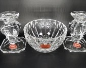 Pair of Gorham Polish Crystal Candle Candlestick Holders and Nut Bowl Dish