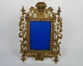 Germany Brass Easel Stand Photo Frame Cherub Lion Mask
