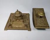 Antique Erhard & Sohne Brass Ormolu Inkwell w Penholder and Blotter