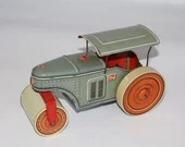 Scarce Tippco Wind Up Tin Litho Steamroller TCO Germany Reversing