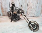 Metal Art Decor Steampunk Chopper Motorcycle Model with Rider
