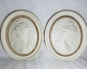 Pair Vintage Alexander Backer Co. ABCO Large Cameo Relief Portrait East West Wind