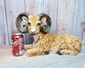 Vintage Resting Ceramic Porcelain Mountain Ram Goat Figurine Statue Signed Danavi Art