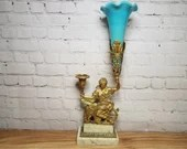 Brass Seated Liberty Opaline Trumpet Vase on Marble Stand