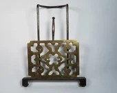 Victorian Sliding Brass Iron Hanging Fireplace Trivet