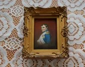 Framed Hand Painted Porcelain Miniature Portrait of Napoleon