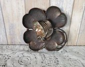 Art Nouveau Cast Iron Inkwell Four Leaf Clover Maiden Swing Lid