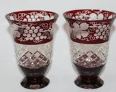 Pair of Bohemian Ruby Cut to Clear Vases Tumblers Grapes Vines