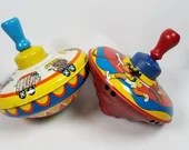 Pair of Vintage Tin Litho Working Spinning Toy Tops Ohio Art
