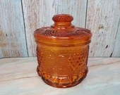 Scarce Fenton Glass Orange Grape and Cable Lidded Tobacco Biscuit Jar